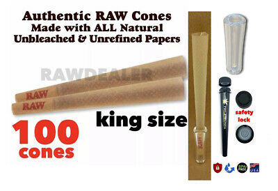 Raw King Size classic pre Rolled Cone 100 Pack-GLASS TIP - safety lock tube