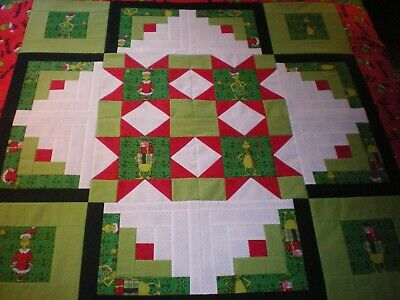 CHRISTMAS IN JULY-SEWN SAMPLER-THE GRINCH-RED-GREEN-BLACK-50 X 50