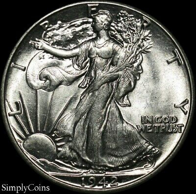 1942 Walking Liberty Silver Half Dollar  AU About Uncirculated  US Coin