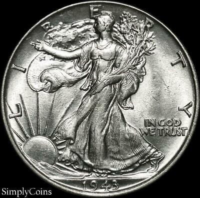 1943 Walking Liberty Silver Half Dollar  AU About Uncirculated  US Coin