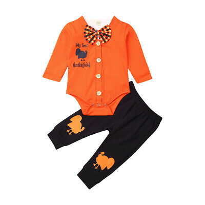 Toddler Kids Thanksgiving Day Baby Boy Autumn Clothes Top Romper-Pants Outfit US