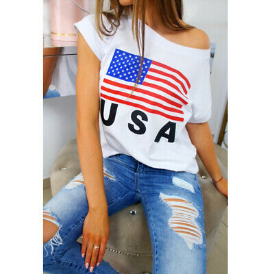 USA American Flag Womens Short Sleeve 4th Of July USA Blouse Tee T-Shirt Tops
