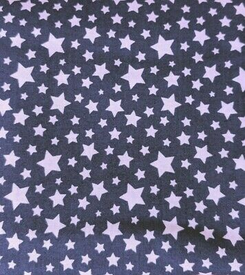 EMMA - MILA white stars COTTON QUILTING FABRIC bty PATRIOTIC 4th of July BLUE