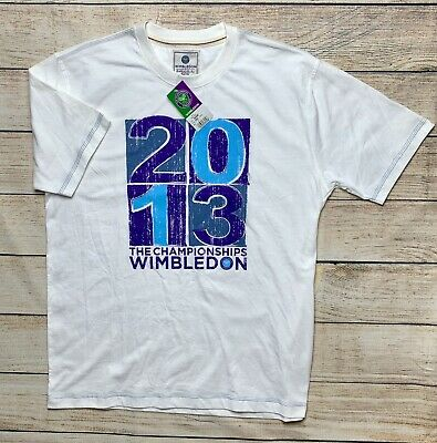 NEW Wimbledon Championships Tennis Official T Shirt White Tee Mens Size L Large