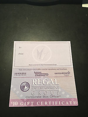 10 Regal Movie 10 Paper Gift Cards Good 4 Admission Tickets Passes Concession-