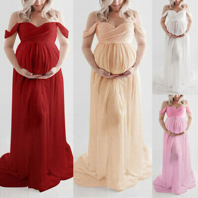New Women Off Shoulder Pregnant Photography Party Ruffle Nursing Long Dress Gown