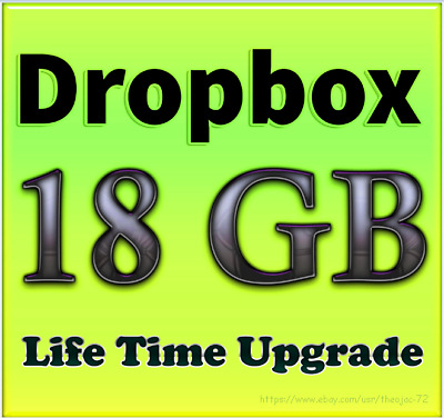Dropbox Service - Upgrade to 18GB for lifetime