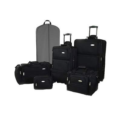 Ultralite 35 or 6 Piece Expandable Luggage Set - Jet Black with Rollers