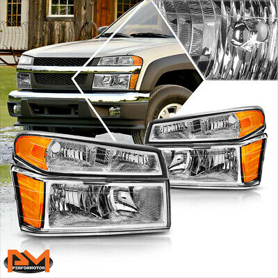 For 04-12 Chevy ColoradoGMC Canyon Bumper Headlightlamps Amber Corner Chrome
