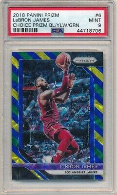LEBRON JAMES 201819 PANINI PRIZM 6 BLUE YELLOW GREEN CHOICE PRIZMS PSA 9 MINT