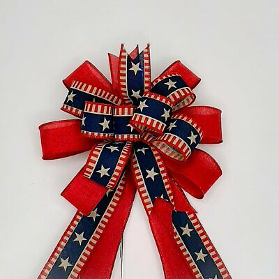 4th of July Bow with Burgundy Linen Beige Stripes and Stars