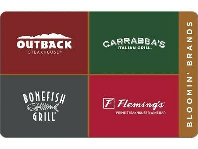 Outback Carrabbas bonefish flemings Restaurant PDF Certificate Gift Card 25