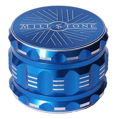 Millstone Tobacco Herb Grinder 4-Piece Metal 2-5 inch Large Magnetic Top Blue