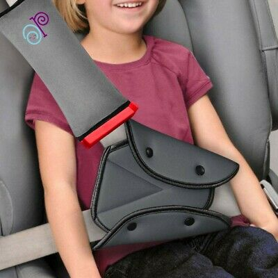 Seat Belt Pillow and Adjuster with Clip for Kids Travel Neck Support Headrest