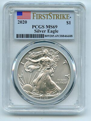 2020 1 American Silver Eagle Dollar 1oz PCGS MS69 First Strike