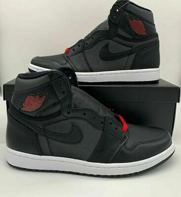Nike Air Jordan 1 Retro High OG Black Satin Red Shoes 555088-060 Mens Bred