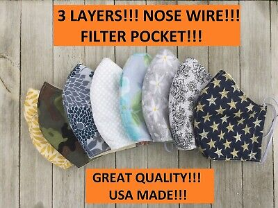 USA MADE face mask with nose wire   3 LAYERS with filter pocket