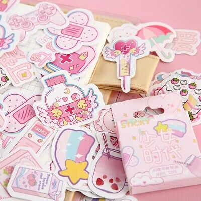 46Pcs Cute Stickers Kawaii Stationery DIY Scrapbooking Diary Label Sticker-