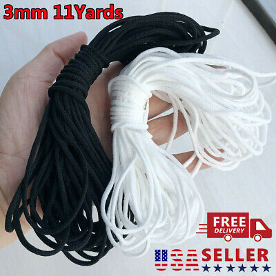 11 Yards Elastic Band Cord Ear Hanging Sewing For DIY 3mm 18 Round BlackWhite
