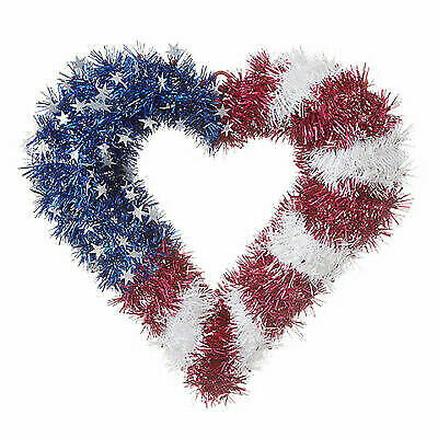 Darice Patriotic Fourth of July Tinsel Heart Wreath Red 16-5 x 16 inches