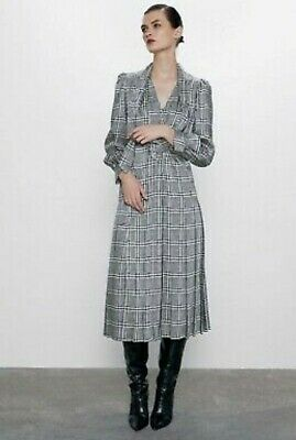 Zara Sold Out Kate Middleton Black and White Houndstooth Dress Size Large