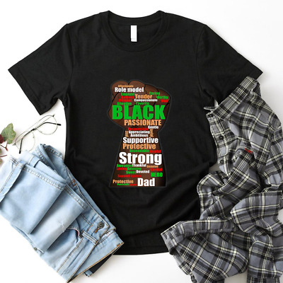 Black Dad wordcloud art Fathers Day African America Shirt