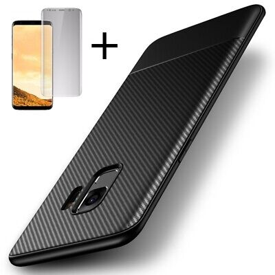 For Samsung Galaxy S8 S9 Plus Note 9 Case Shockproof Carbon Fiber Texture Cover
