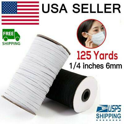125 Yards Braided Elastic Band Cord Knit 14 inches width 6mm White USA Stock