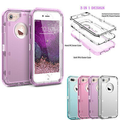 For iPhone 6 6s 7 8 Plus Clear Heavy Duty Case Hybrid Shockproof Defender Cover
