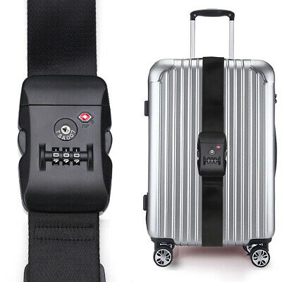USA CarryOn Adjustable Luggage Strap with a Built-in TSA Combination Lock Black