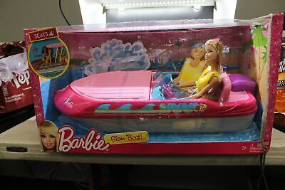 New BARBIE GLAM BOAT with CANOPY Speedboat Barbie Doll BOAT FLOATS Seats 4 NEW