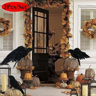 3PC Halloween Crow Prop Large Realistic Raven Feathered Spooky Party Home Decor