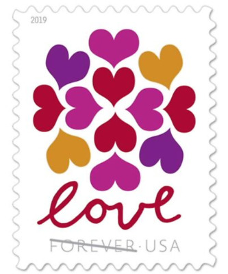 100 USPS 5 Panes OF 20 Forever Love Hearts Blossom Stamps First Class Postage