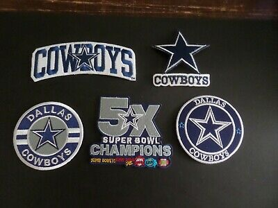 LOT OF 5 DALLAS COWBOYS FOOTBALL EMROIDERED IRON ON PATCH W TRACKING 2