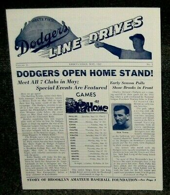 BROOKLYN DODGERS LINE DRIVES NEWSLETTER EBBETS FIELD MAY 1952 VOL 11 NO 2