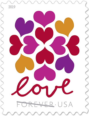 100 USPS Forever Stamps Hearts Blossom Love 5 sheet of 20