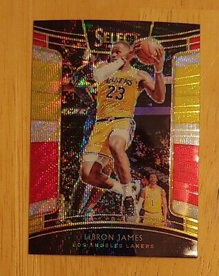 Los Angeles Lakers LeBron James select red and yellow prizm card