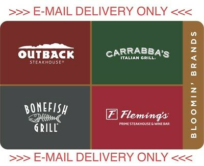 35 Outback Carrabbas bonefish flemings PDF CERTIFICATE Gift Card - READ AD PLZ