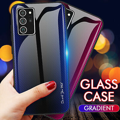 For Samsung Galaxy S20 FE Note 20 Ultra S20 Plus Tempered Glass Back Hybrid Case