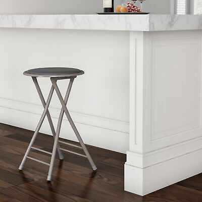 Padded 24 Inch Cushioned Folding Stool Holds 300 Lbs Extra Seating Gray