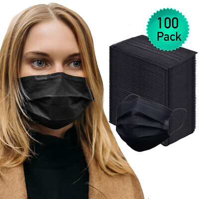 100pk Disposable Face Mask Adult Covers Mouth - Nose 3 Ply Ear Loop USA Seller