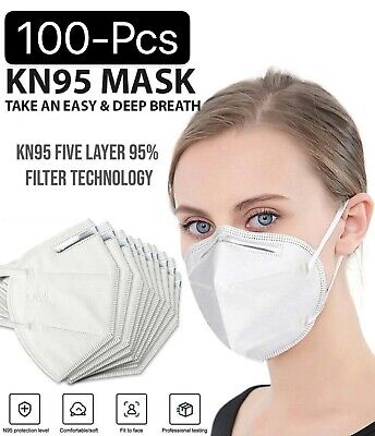 Lot 10-100 White KN95 Protective 5 Layer Face Mask Disposable Respirator BFE 95