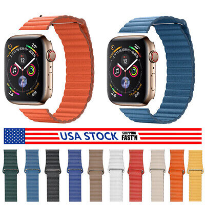 Leather Link Strap For Apple iWatch Watch Band 44mm 42mm Magnetic Bracelet