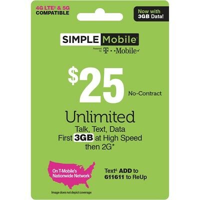 1 MONTH SIMPLE MOBILE 25 PLAN 30 Days Preloaded 25 Value INCLUDES 3GB LTE