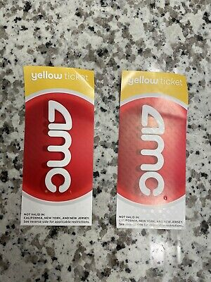 AMC Theatres 2 Two Yellow Movie Tickets - E-Tickets - INSTANT DELIVERY
