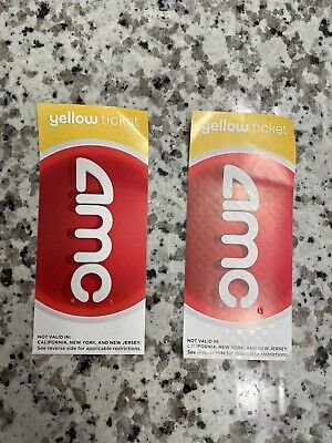 AMC Theatres 2 Two Yellow Movie Tickets - E-Tickets - Physical - FAST DELIVERY