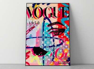 Vintage Rainbow Vogue Cover Poster  Edgy Y2K 20 Poster Decor Home Wall Poster