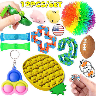 12 Pack Fidget Toy Set Sensory Tools Bundle ADHD SEN Autism Stress Relief Toys