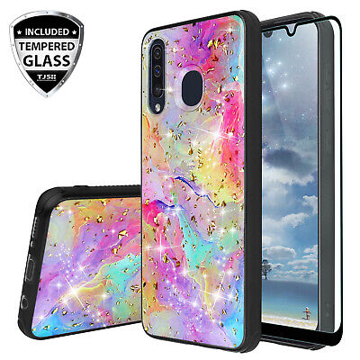For Galaxy A20 A50 A30 Case Marble Rainbow Glitter Bling TPU -Tempered Glass