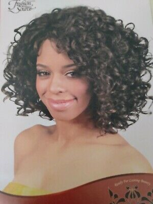 Womens Brown F4 30 Curls Highlights Lace Front Synthetic Wig Short Medium